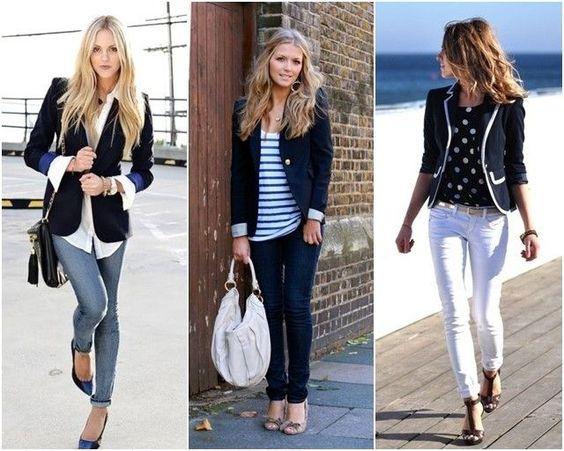 Como usar o azul marinho, a cor do momento? Com branco, com listras, um look total marinho, monocromático. Eu adoro!