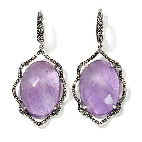 Marcasite and Amethyst Sterling Silver Drop Earrings