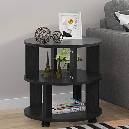Tribesigns Mobile Chair Side End Table 3 Tier Modern Night Stand Bedside Table With Storage Shelves And Rolling Wheels For Living Room Bedroom Black End Tables Modern Bedside Table Bedroom Black
