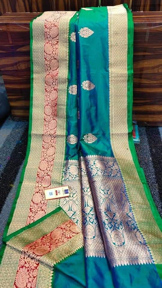 Pure Katan Silk Sarees Blue And Green Pure Products Saree Silk Touch