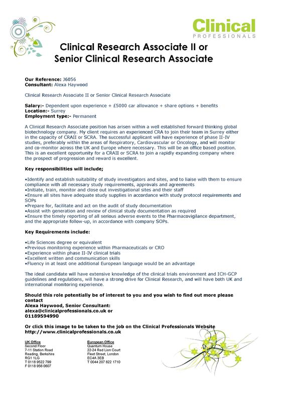 Clinical Research Associate II or Senior Clinical Research - research associate resume