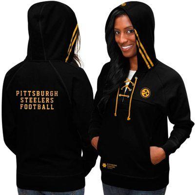 Pro Line Pittsburgh Steelers Women's Chic Aviator Pullover Hoodie ...