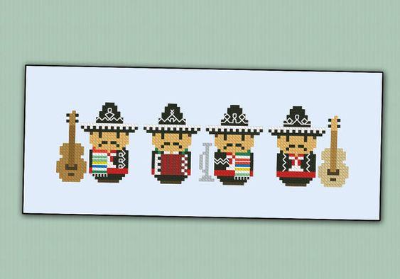 Cute little Mexican Band PDF cross stich pattern por cloudsfactory