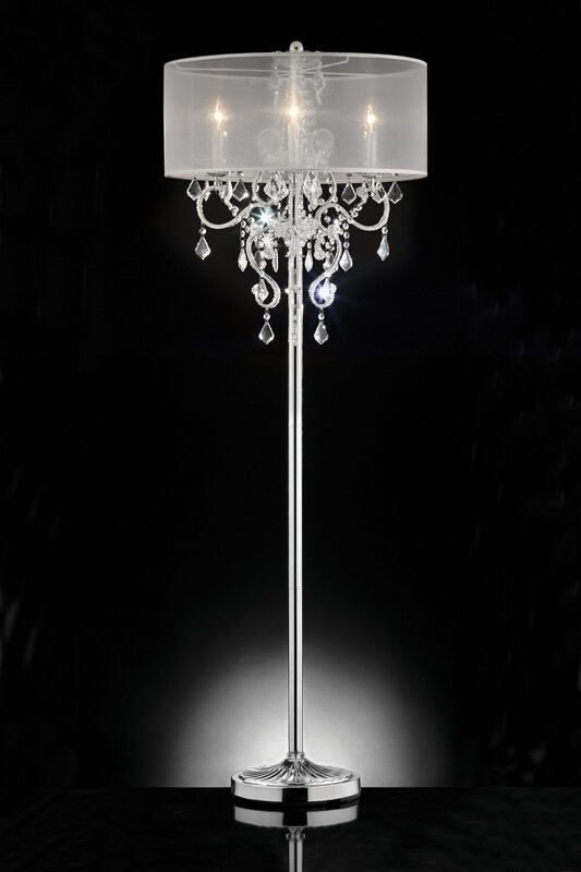 L9720f Silver Chrome Finish Metal And Glass Crystal Floor Lamp