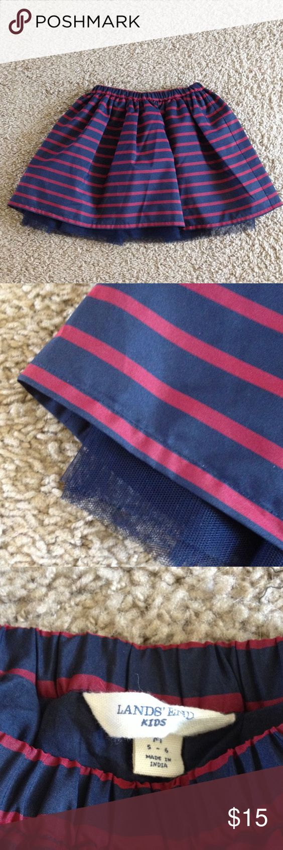 Lands End Kids skirt Navy and dark red striped Lands End Kids skirt.  Size 5-6.  Super cute tulle layer.  Great condition. Lands' End Bottoms Skirts