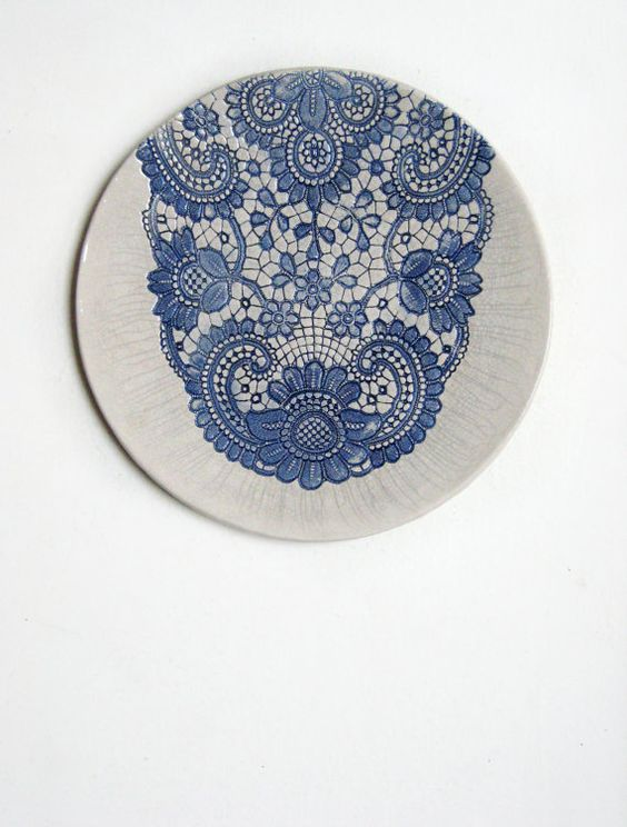 ceramic plate shabby chic wall decor www.etsy.com/de/shop/ceralonata