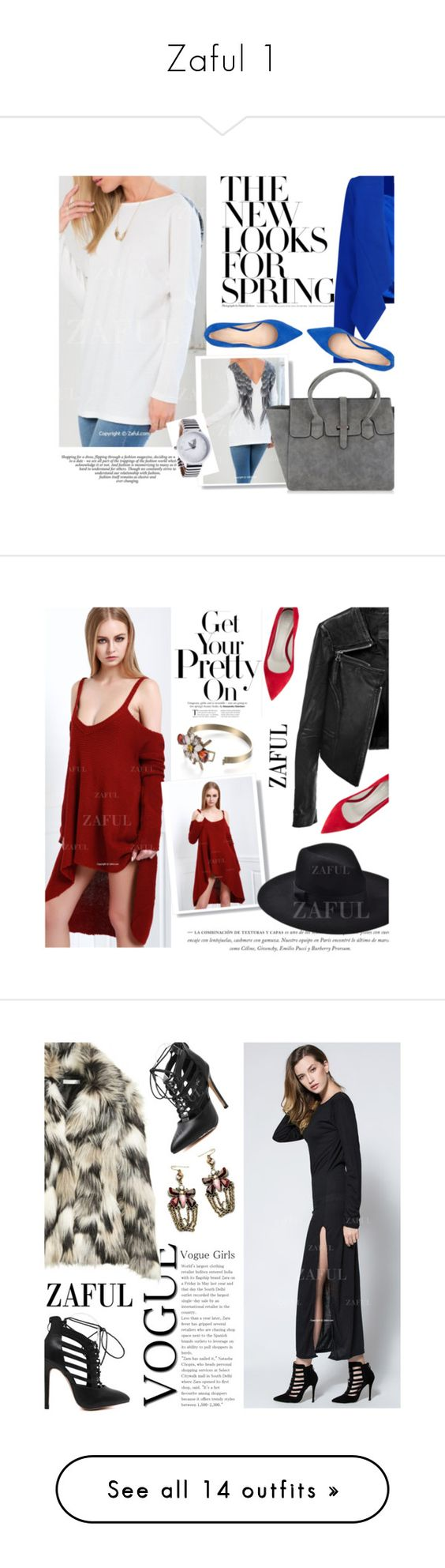 """""""Zaful 1"""" by merima-kopic ❤ liked on Polyvore featuring zaful, Milly, Nine West, women's clothing, women, female, woman, misses, juniors and Linea Pelle"""