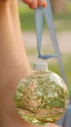 I love this idea! You can get the ornaments really cheap after Christmas, and save them!