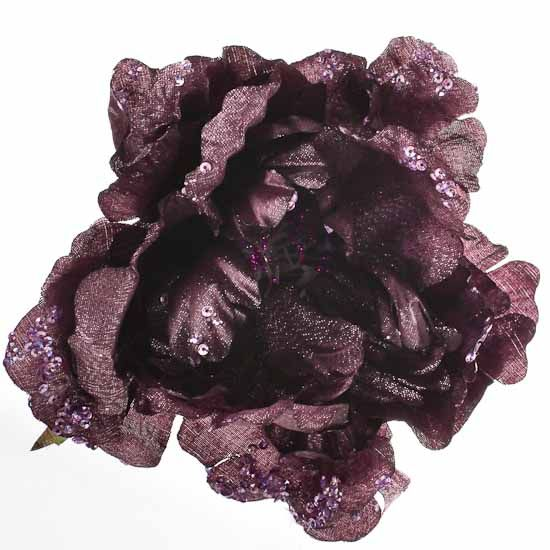 Purple Artificial Peony Flower Clip