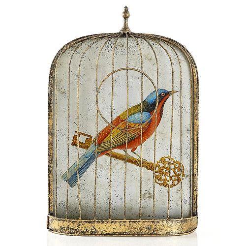 Trompe l Oeil birdcage with red bird 20 off