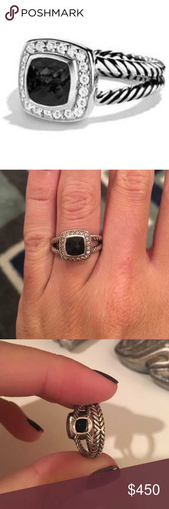 David yurman ring Black onyx stone with diamonds petite David yurman ring. Lightly worn, great condition. Don't have tags but shows pic of number in ring. 100% authentic. Will ship with dust bag. David Yurman Jewelry Rings