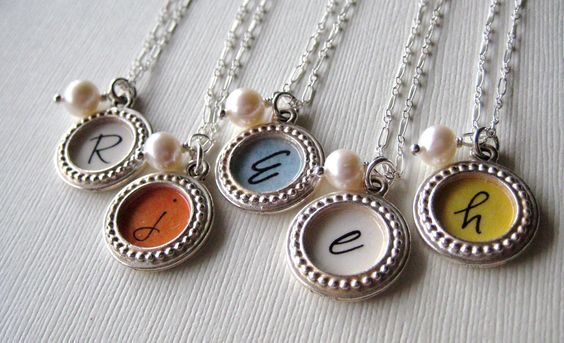 Silver Personalized Pendant Necklace, Sets available for discount sale price. $202.50, via Etsy.