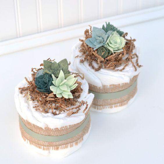 Succulent Baby Shower Centerpieces, Mini Neutral Diaper Cake Centerpieces