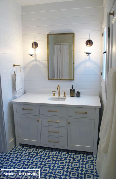 Amber Interiors   bathrooms   Rivet Medicine Cabinet  Kohler Purist Moderne Brushed Gold Faucet. Amber Interiors   bathrooms   Rivet Medicine Cabinet  Kohler