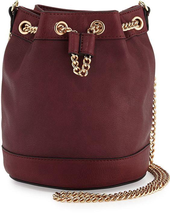 Neiman Marcus Faux-Leather Chain Bucket Bag, Wine