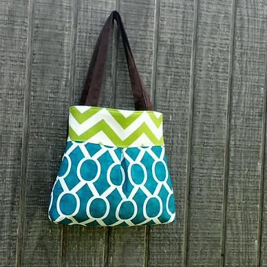 Handbag Purse Tote Bag in Blue and Green by DandelionHoney on Etsy, $48.00