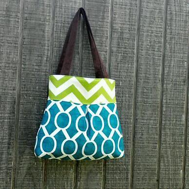 Handbag Purse Tote Bag in Blue and Green by DandelionHoney on Etsy, $48.00