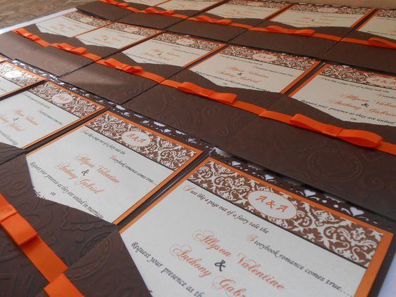 burnt orange and chocolate brown panel pocket wedding invitation #allhandmade