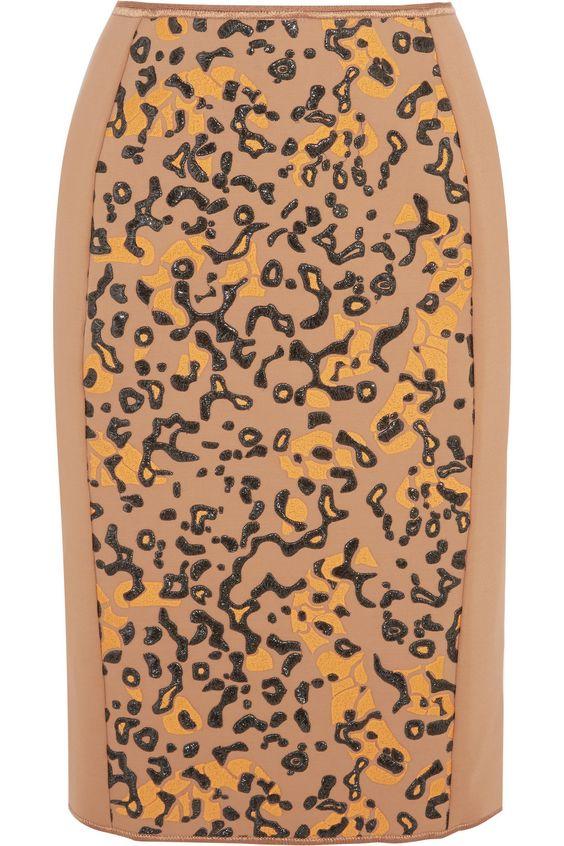 MISSONI Embroidered Stretch-Crepe Skirt. #missoni #cloth #skirt