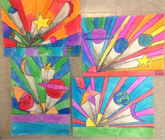 One Point Perspective Bedroom: Peter Max Style Perspective Landscapes