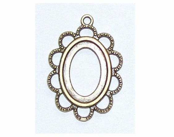Antiqued Bronze 18x13 Setting with Ring Item by cameojewelrysupply