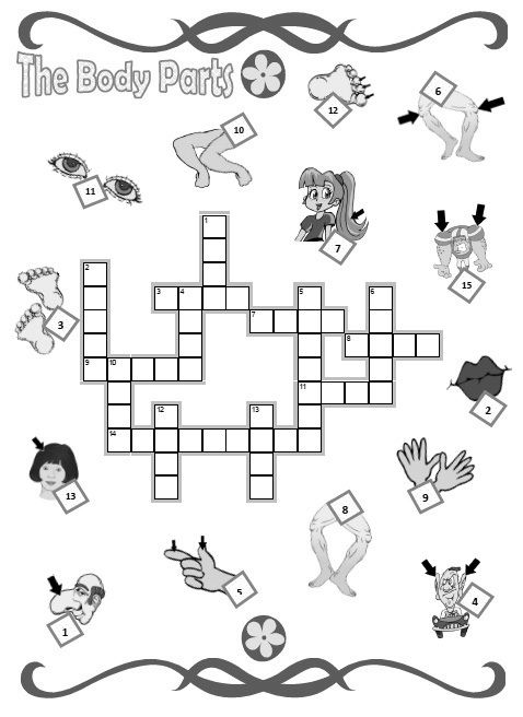 Crossword Puzzle Body Parts Helpful pre k worksheets for ...