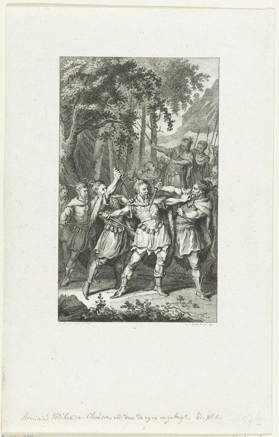 Reinier Vinkeles | Moord op de Germaanse veldheer Arminius, 19, Reinier Vinkeles, 1786 | De Germaanse veldheer Arminius, leider van de stam der Cherusken, wordt in 19 (volgens FM in het jaar 17) door leden van zijn eigen stam vermoord.