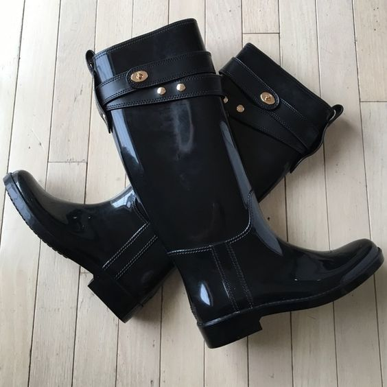 NWT Coach Tall Rainboots - shiny black NWT | Shopping Shoes and