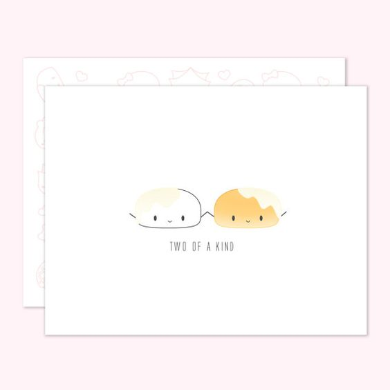 """""""Two of a Kind"""" #punny #dimsum #greetingcards #etsy"""