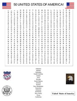 United States Word Search Puzzle | Student, The o'jays and ...
