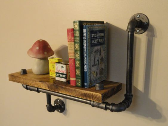 Industrial Shelving Pipe Shelf Wood Shelf  Made by lamponahill, $125.00