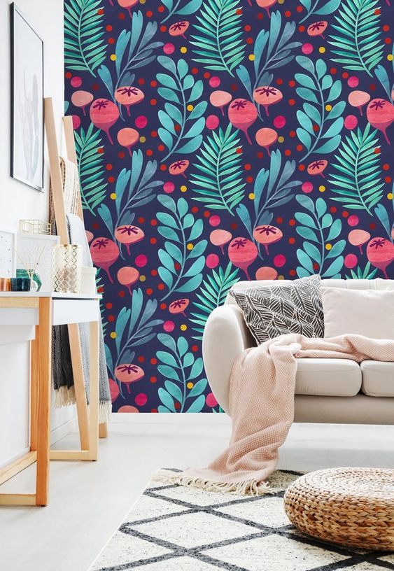 Watercolor Colorful Tropical Mix Removable Wallpaper-Peel and | Etsy
