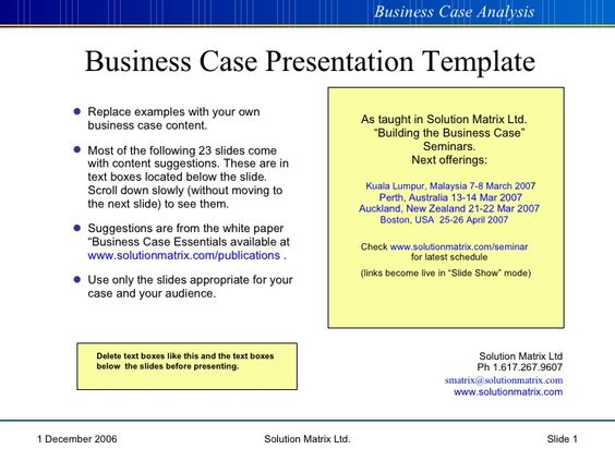 Business Case Presentation cba Pinterest Business plan - case analysis template