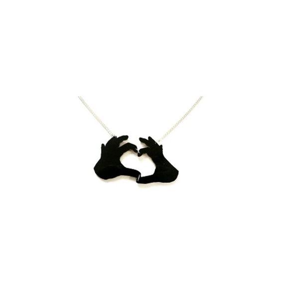 Kette mit Herz Händen schwarz ($11) ❤ liked on Polyvore featuring jewelry, necklaces, girls, boys, chain, chains jewelry, chain necklaces and herz