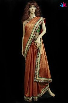 Avanthika,Vastrakraft,Scarlet red colour crepe saree with white beaded and flor...