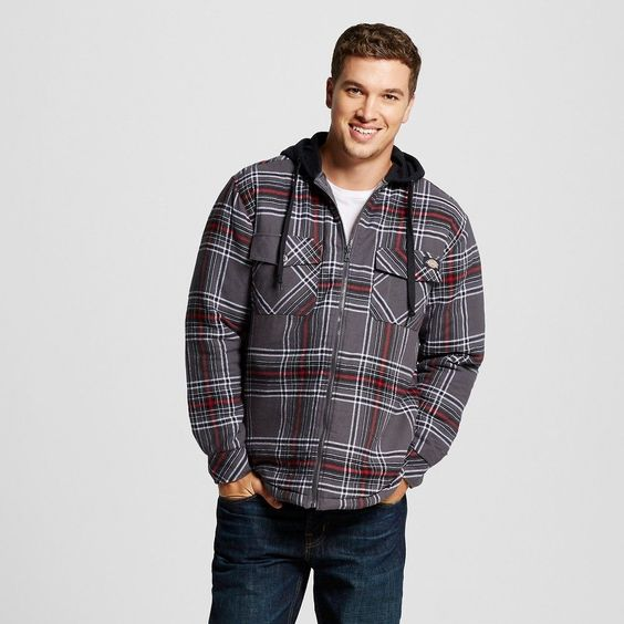 Dickies - Men's Big & Tall Quilted Flannel Overshirt With Fleece Hood Charcoal (Grey)/Red Xxxl Tall, Size: 3XL Tall