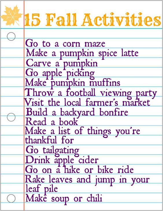 15 Fall Activities via ComeHomeForComfort.com