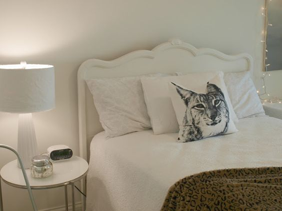 Shabby chic white painted vintage headboard from 1940's/Lynx pillow/Ikea side table/leopard throw/Hello Lovely Studio