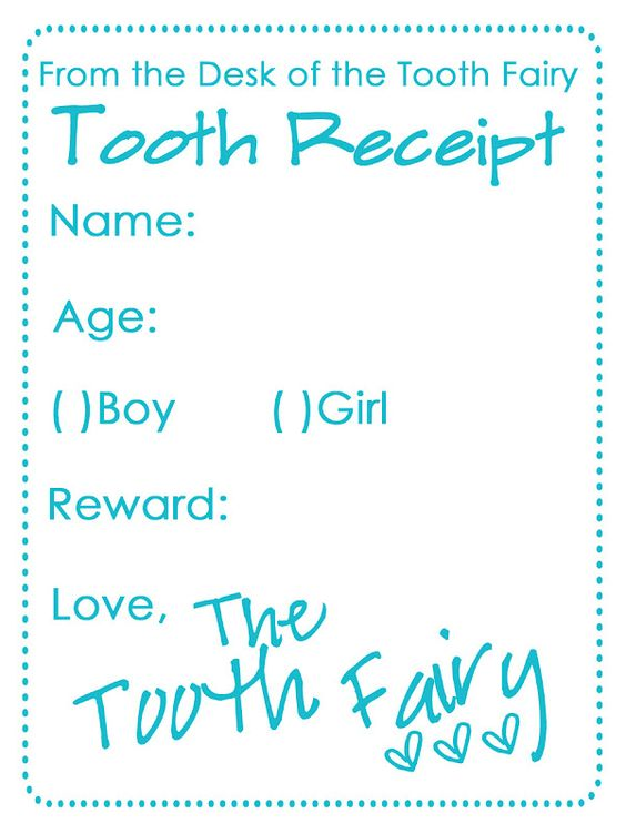Dynamic image pertaining to printable tooth fairy receipt