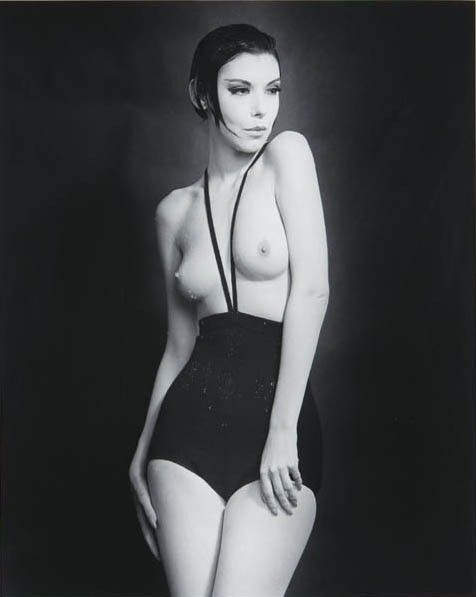 1964: Peggy Moffitt wearing Rudi Gernreich's topless mono-kini. This photo - taken by Moffit's photographer husband - launched Moffitt's modeling career and made Gernreich THE 60s designer of extreme fashion.