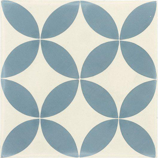Carreau De Ciment Interieur Palmette Premium Bleu Et Blanc 20 X 20 Cm Carrelage Pinterest