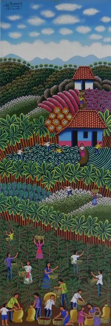 Título:Corte de Café. Artista:Luis Alvarado Namoyuri. Técnica:Oleo sobre Lienzo. Año:2011. Lugar:Masaya.: