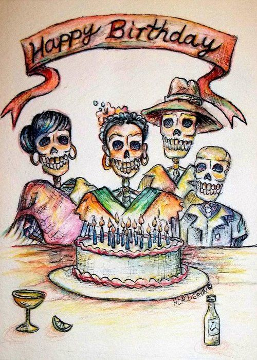 Happy Birthday Woman Skull Greeting Card For Sale By Heather Calderon In 2021 Happy Birthday Vintage Happy Birthday Woman Happy Birthday Sister
