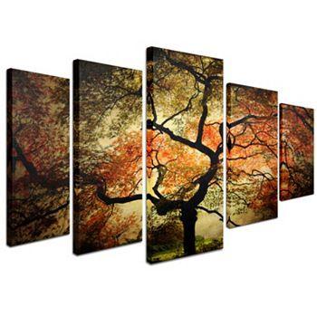 japanese tree 5 piece canvas wall art set multicolor. Black Bedroom Furniture Sets. Home Design Ideas