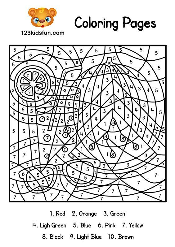 Free Color By Number Summer Coloring Pages For Kids Printable Education For Kids Colorbynu Summer Coloring Pages Coloring Pages Inspirational Coloring Pages