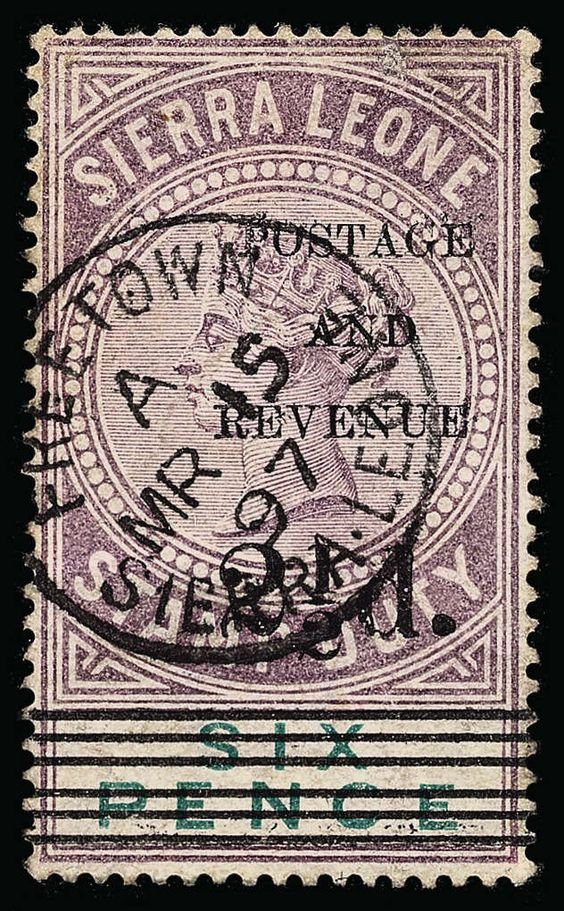 Philasearch.com - Sierra Leone, Scott 52-55, SG 59-62 1897 2½d on 6d dull purple and green Q Victoria Stamp Duty surcharged SG Types 8, 10-12, cplt (4), rare as only 196 were printed of Type 12, undercatalogued, F-VF  Erhaltung   Anbieter Colonial Stamp Company  Saalauktion Ausruf: 780.00 US$ (ca. 618 EUR)