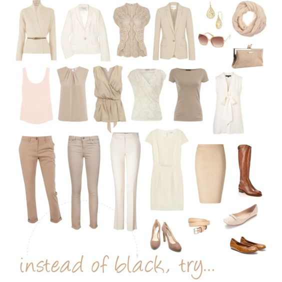 Black is too easy to get away with. This beige color palette is light and neutral and can be combined with other colors easily!: