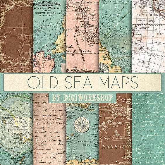 """10 Vintage maps digital paper Old Sea Maps  with by DigiWorkshop...I do not understand the """"digital"""" part of this? LOVE these vintage, intriguing maps! -kjm 1/1/2015"""