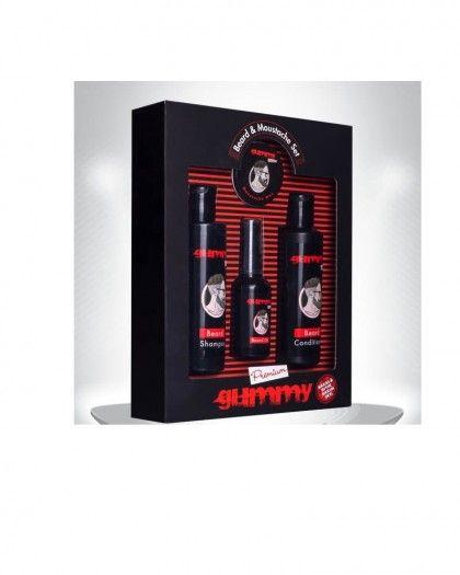 Gummy Premium Sakal Bakım Seti  Daha gür, canlı, parlak, düzgün ve bakımlı sakallar için Avantajlı Paket 1 Adet Sakal Bakım Yağı (50 ml) 1 Adet Sakal Bakım Kremi (150 ml) 1 Adet Sakal Şampuanı (150 ml) 1 Adet Bıyık Waxı (20 ml)