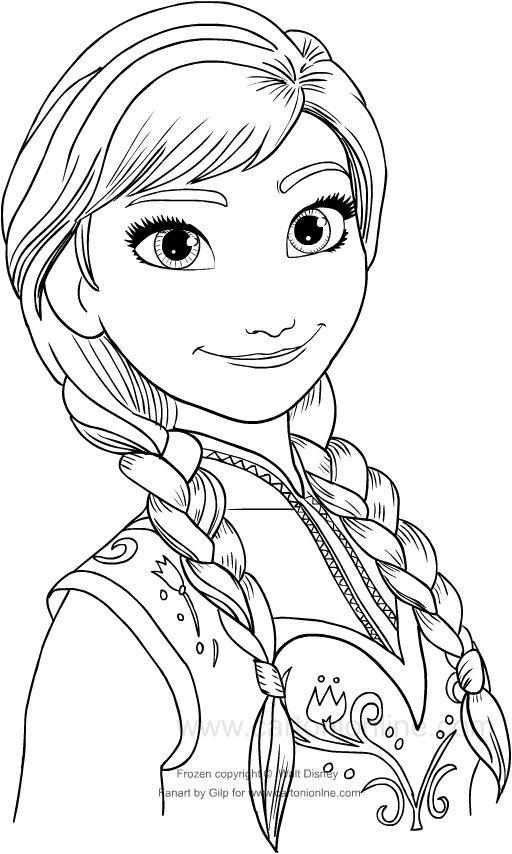 Personaggi Di Frozen Da Colorare.Disegno Da Colorare Di Anna In Primo Piano Disegni Da Colorare